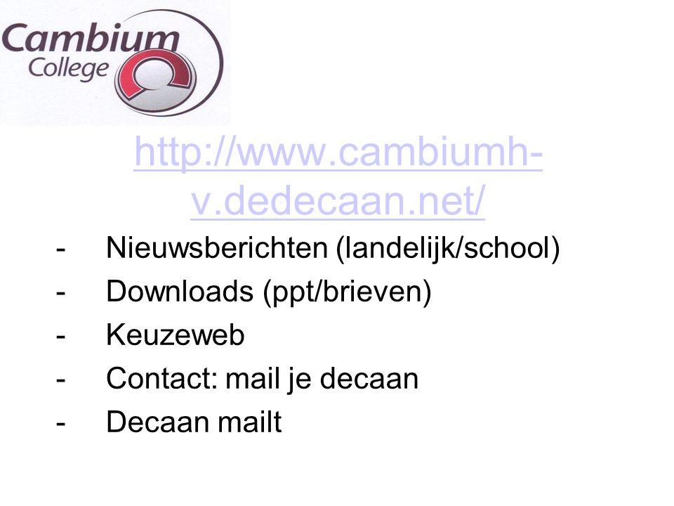 http://www.cambiumh-v.dedecaan.net/ Nieuwsberichten (landelijk/school)