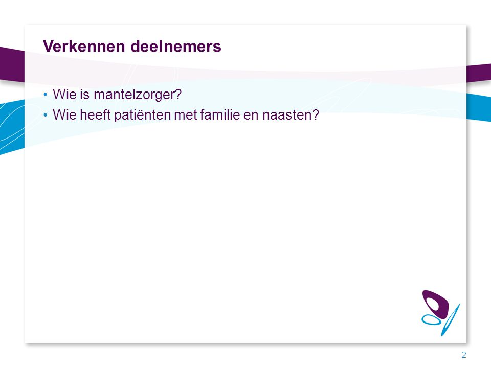 Verkennen deelnemers Wie is mantelzorger