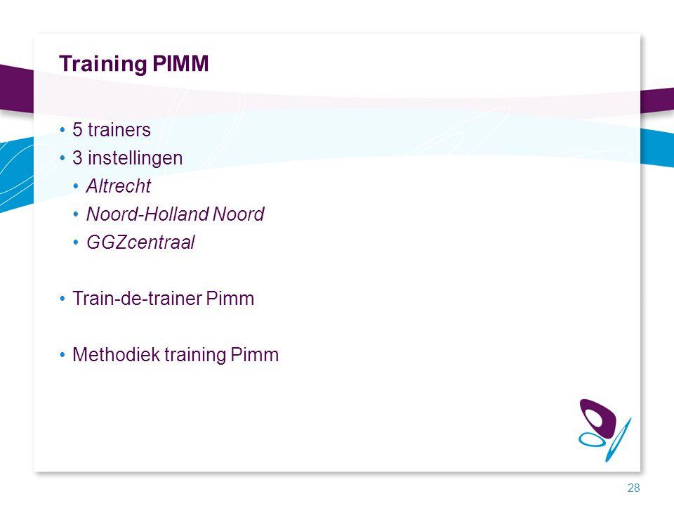 Training PIMM 5 trainers 3 instellingen Altrecht Noord-Holland Noord