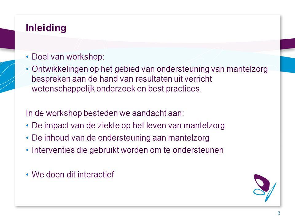 Inleiding Doel van workshop: