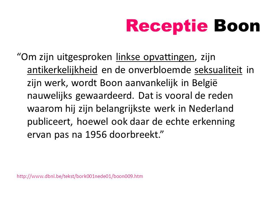 Receptie Boon