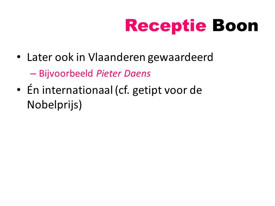 Receptie Boon Later ook in Vlaanderen gewaardeerd