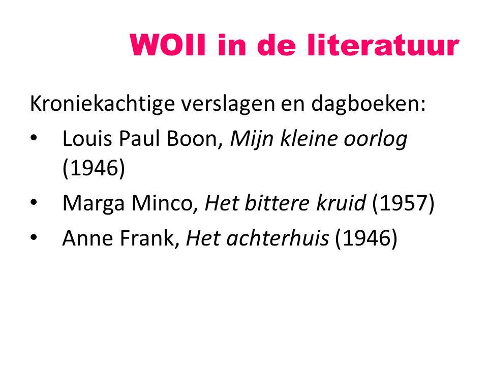 WOII in de literatuur Kroniekachtige verslagen en dagboeken: