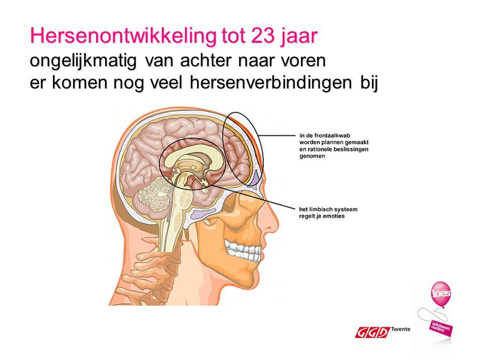 Hersenontwikkeling tot 23 jaar ongelijkmatig van achter naar voren er komen nog veel hersenverbindingen bij