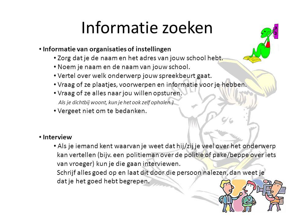 Informatie zoeken Informatie van organisaties of instellingen