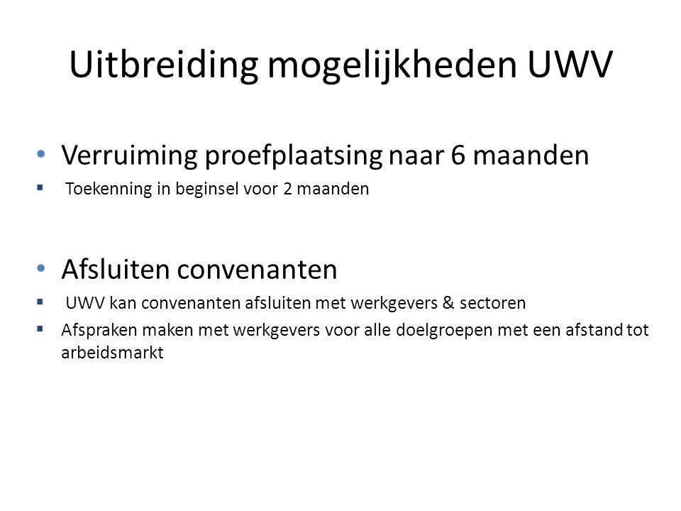 Uitbreiding mogelijkheden UWV