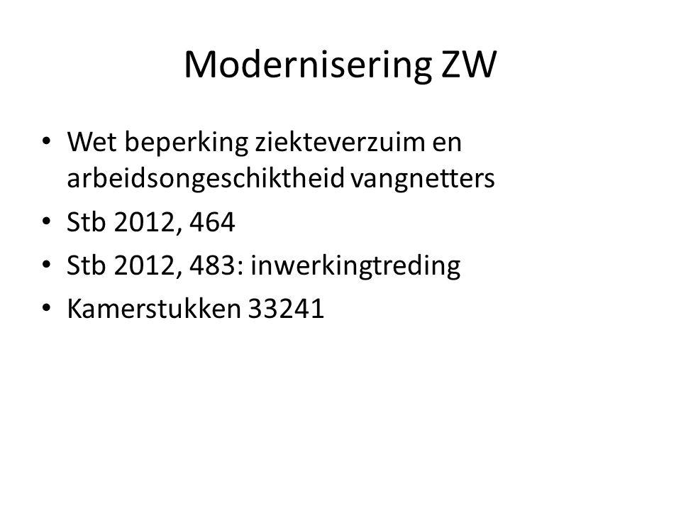 Modernisering ZW Wet beperking ziekteverzuim en arbeidsongeschiktheid vangnetters. Stb 2012, 464. Stb 2012, 483: inwerkingtreding.