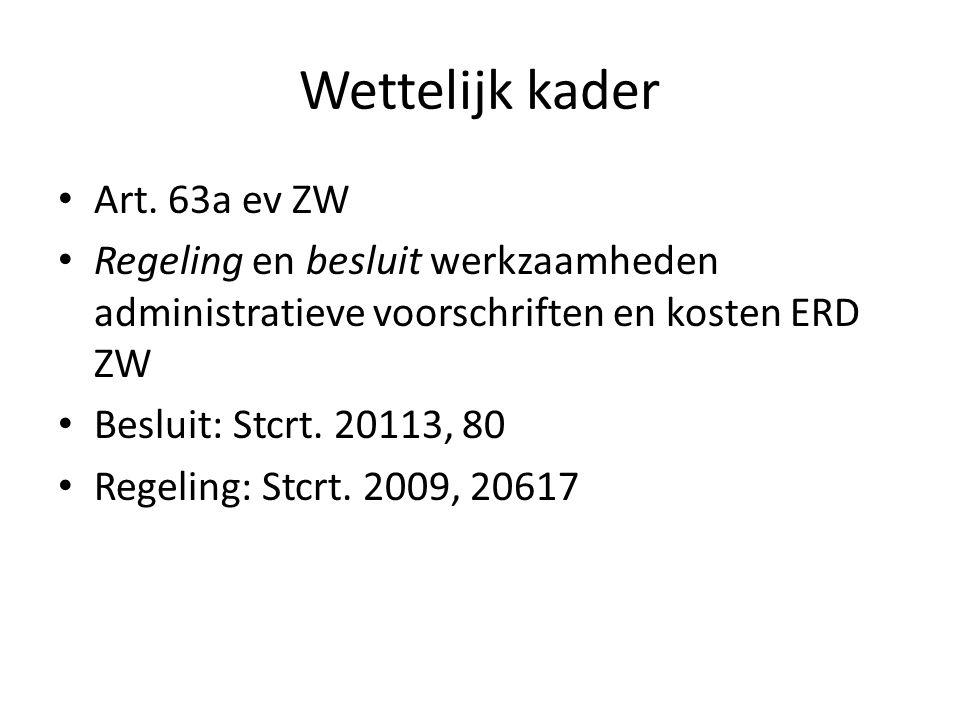 Wettelijk kader Art. 63a ev ZW