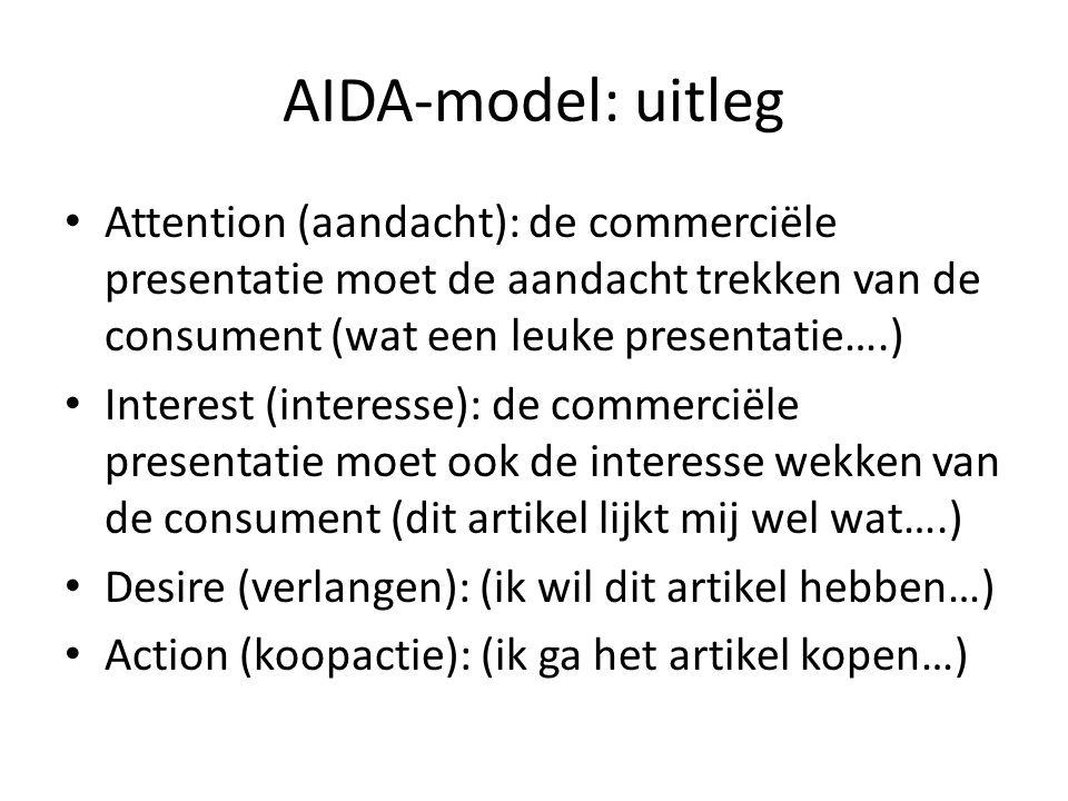 AIDA-model: uitleg Attention (aandacht): de commerciële presentatie moet de aandacht trekken van de consument (wat een leuke presentatie….)