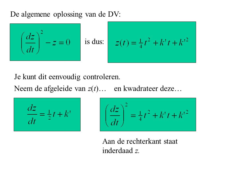 De algemene oplossing van de DV: