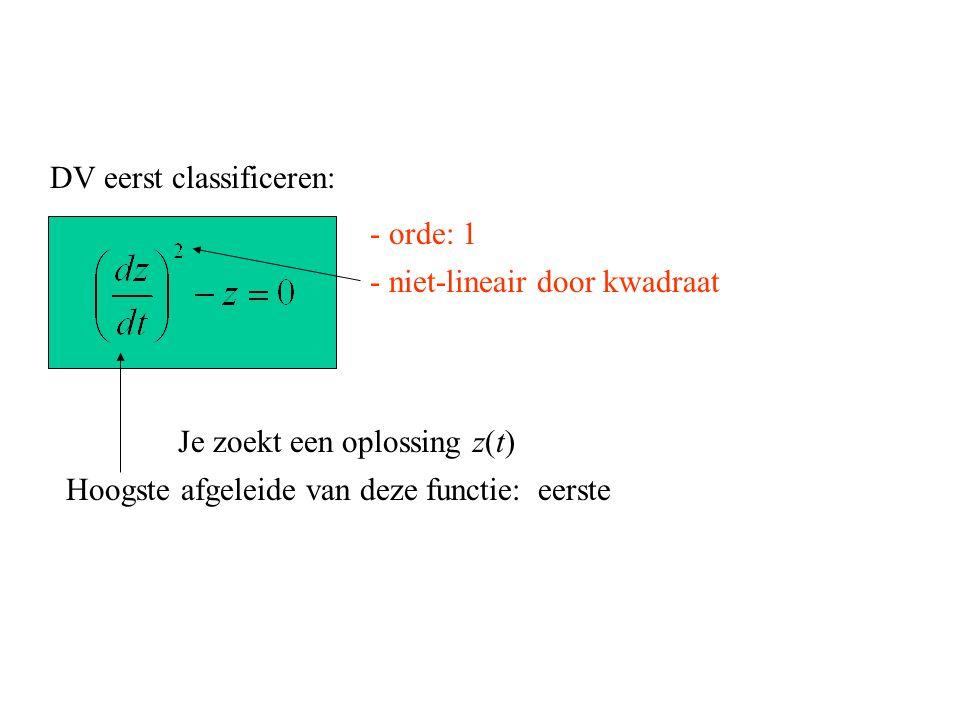 DV eerst classificeren: