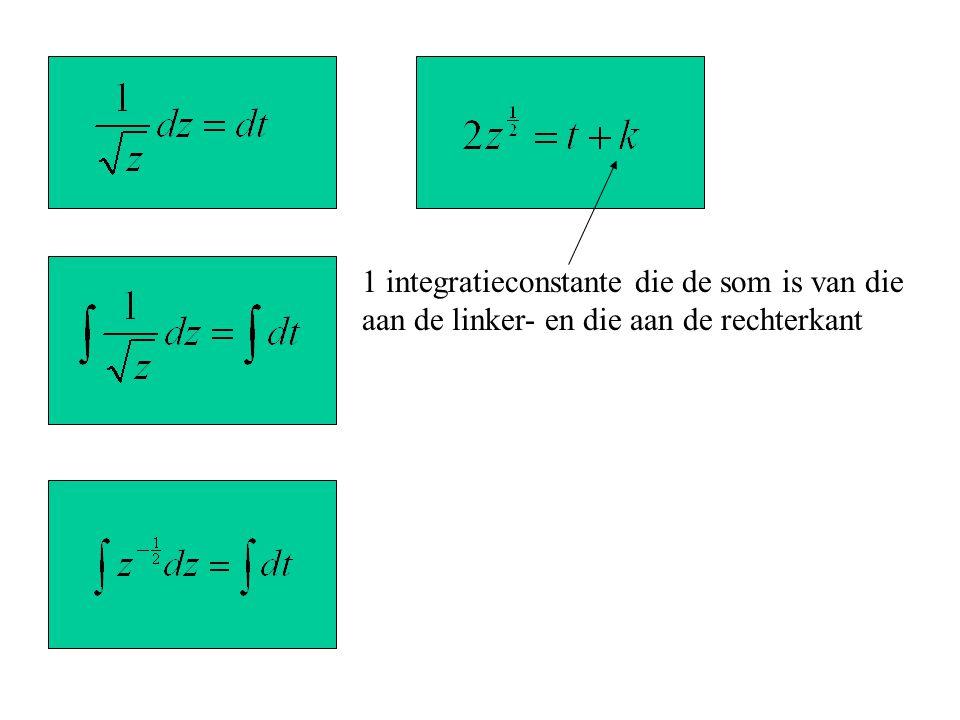 1 integratieconstante die de som is van die aan de linker- en die aan de rechterkant
