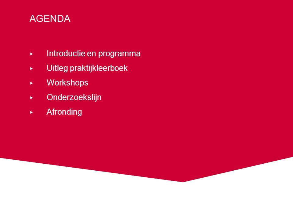 agenda Introductie en programma Uitleg praktijkleerboek Workshops