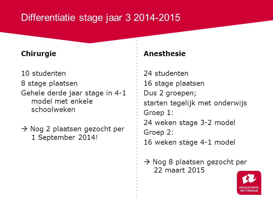 Differentiatie stage jaar 3 2014-2015