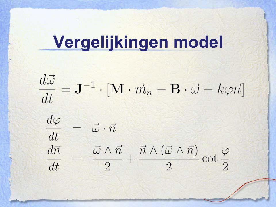 Vergelijkingen model Nou dit zijn dan de vergelijkingen, geimplementeerd in mathematica 5.0.