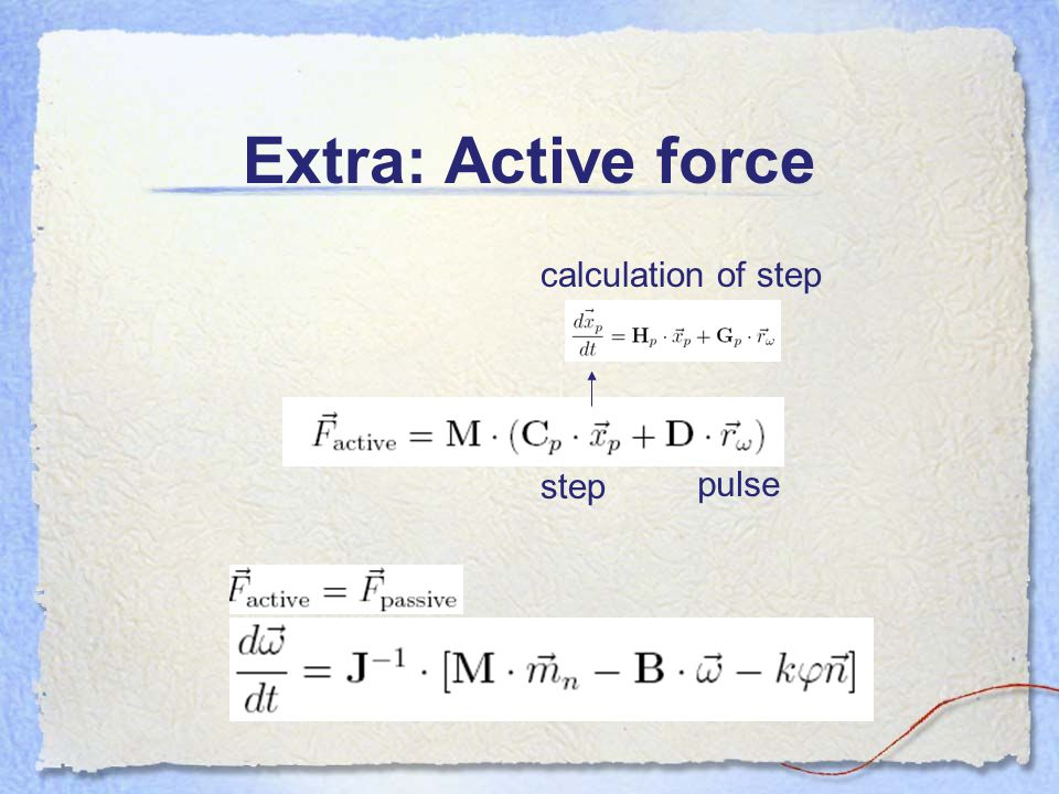 Extra: Active force calculation of step step pulse