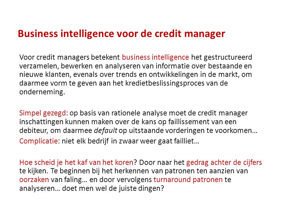Business intelligence voor de credit manager