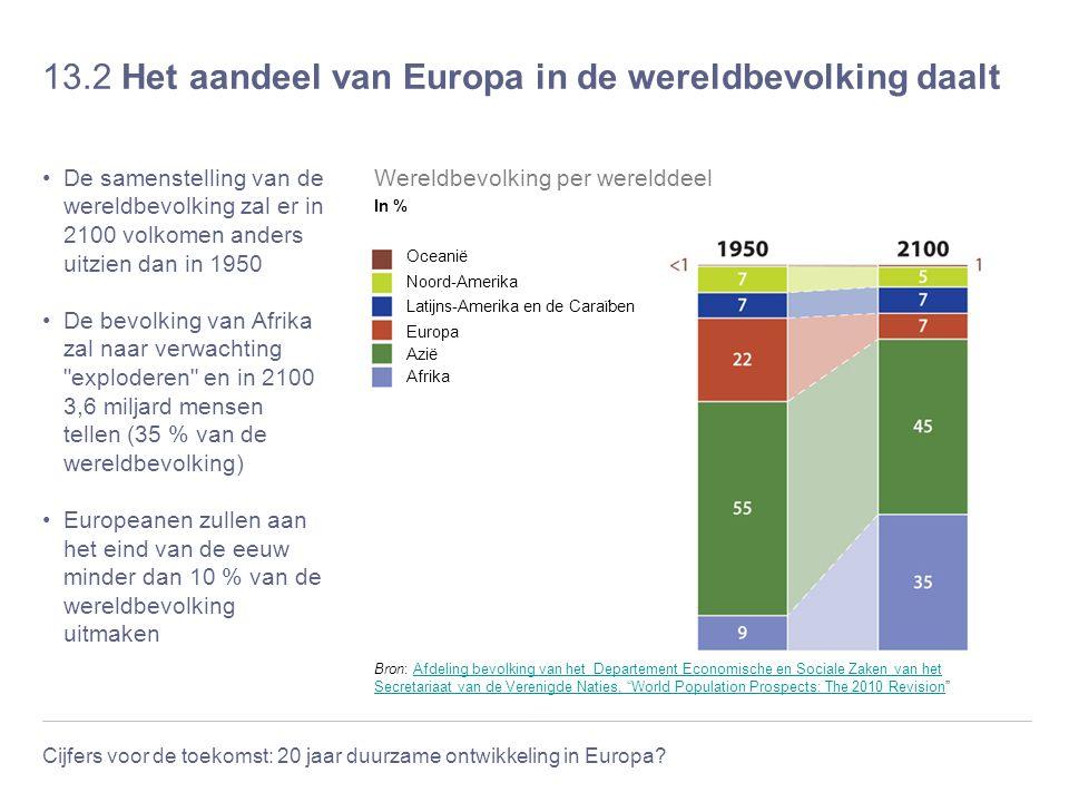 13.2 Het aandeel van Europa in de wereldbevolking daalt
