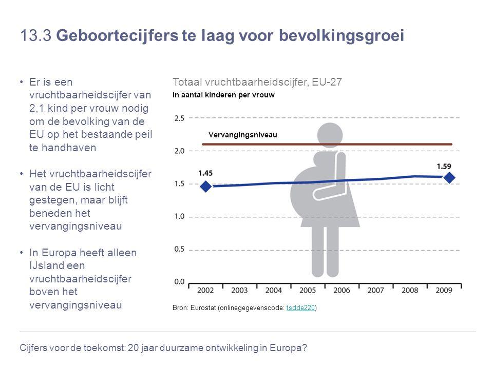 13.3 Geboortecijfers te laag voor bevolkingsgroei