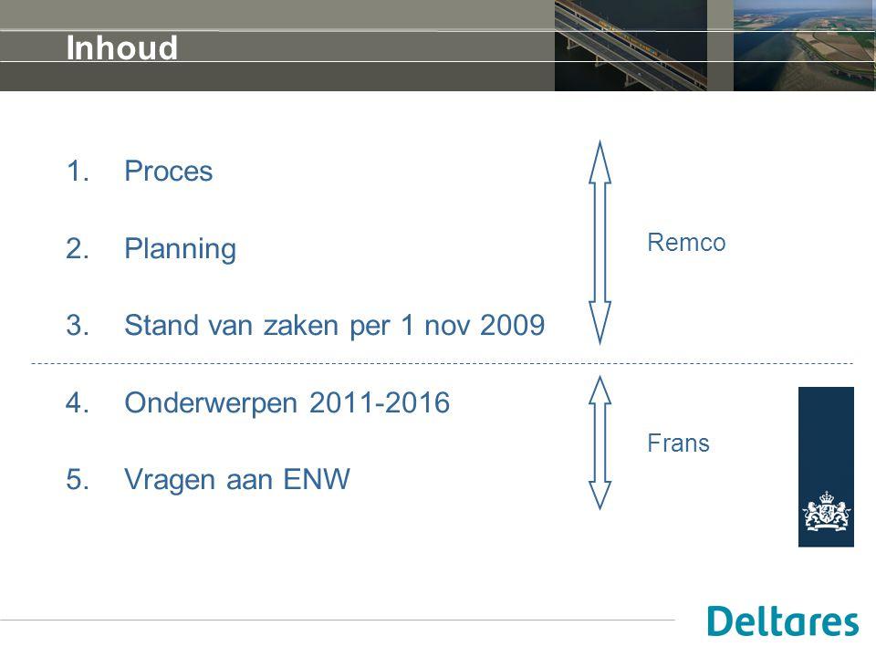 Inhoud Proces Planning Stand van zaken per 1 nov 2009