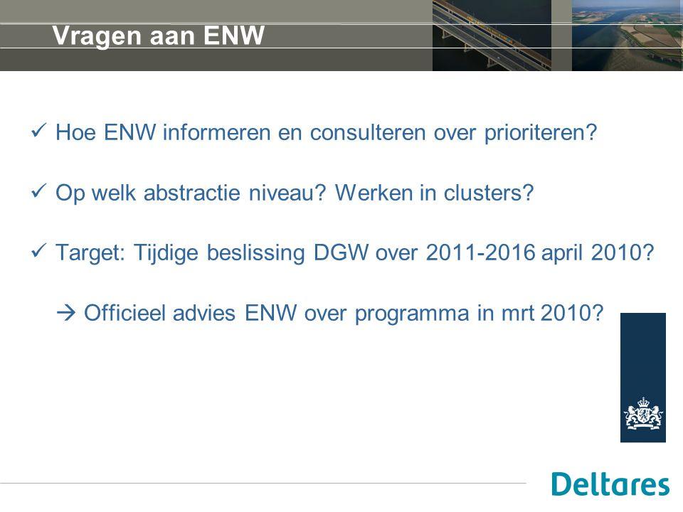 Vragen aan ENW Hoe ENW informeren en consulteren over prioriteren