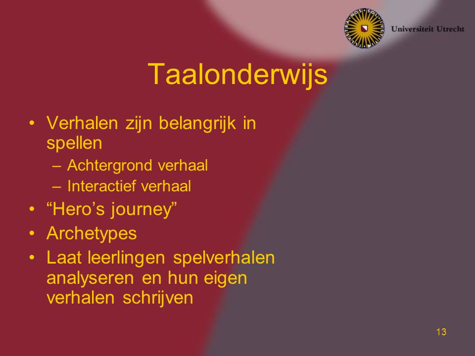 Taalonderwijs Verhalen zijn belangrijk in spellen Hero's journey