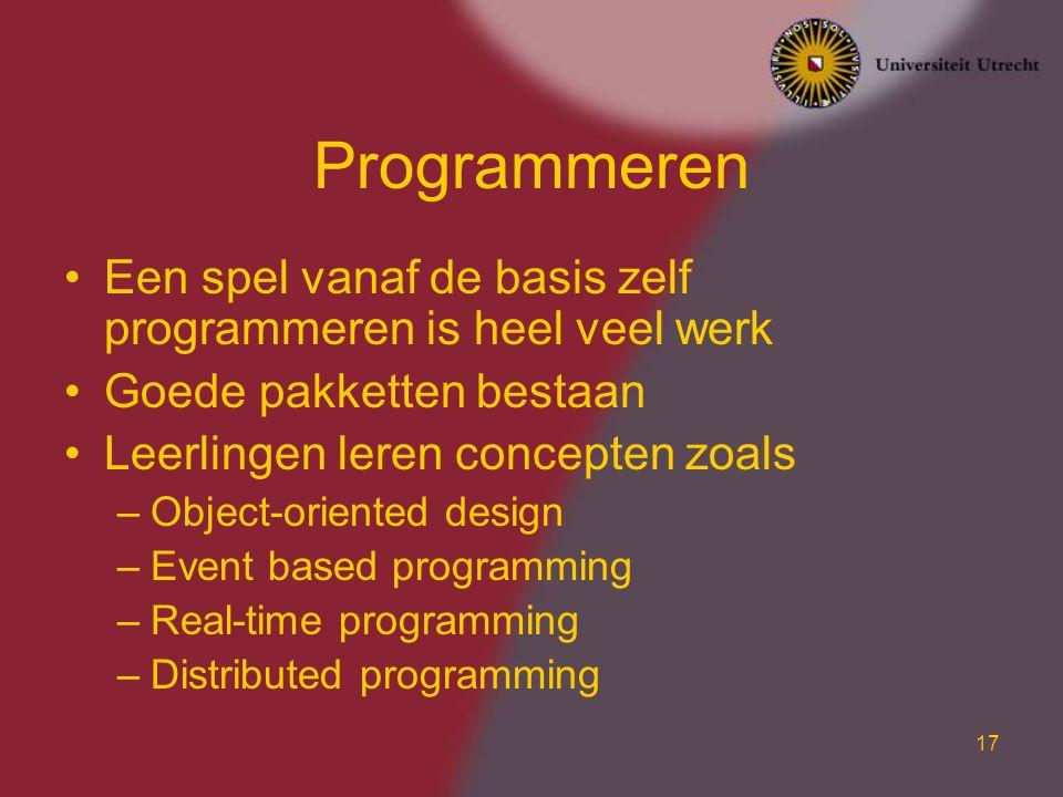 Programmeren Een spel vanaf de basis zelf programmeren is heel veel werk. Goede pakketten bestaan.