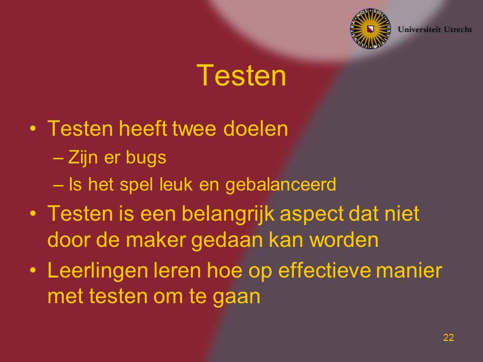 Testen Testen heeft twee doelen