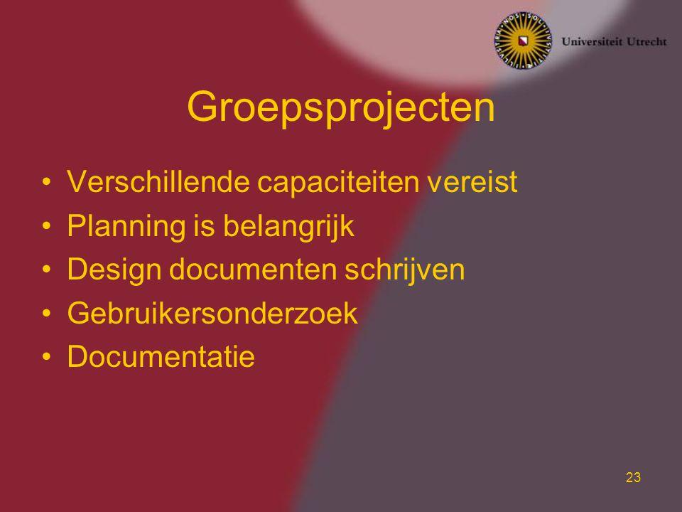 Groepsprojecten Verschillende capaciteiten vereist