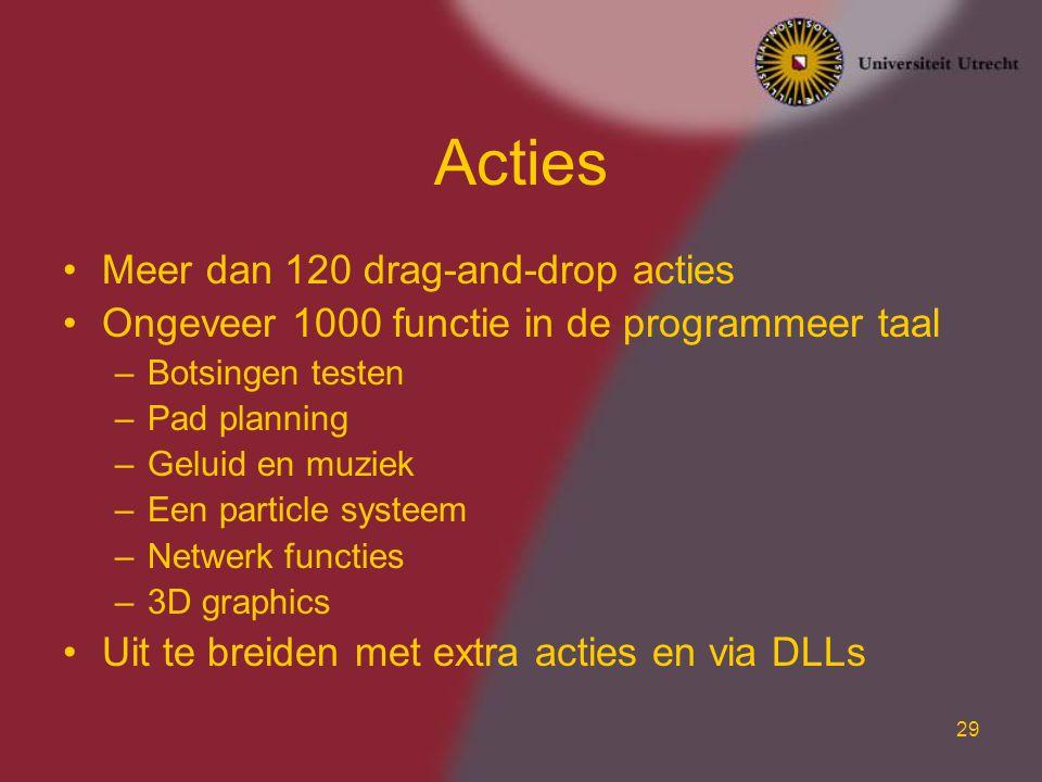 Acties Meer dan 120 drag-and-drop acties