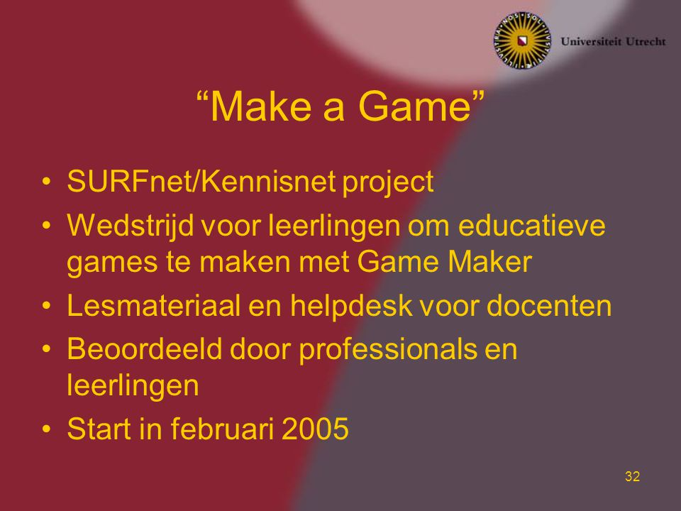 Make a Game SURFnet/Kennisnet project