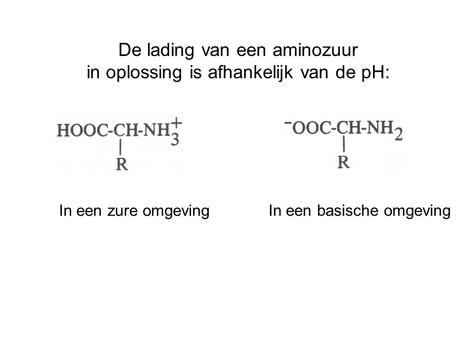 De lading van een aminozuur in oplossing is afhankelijk van de pH: