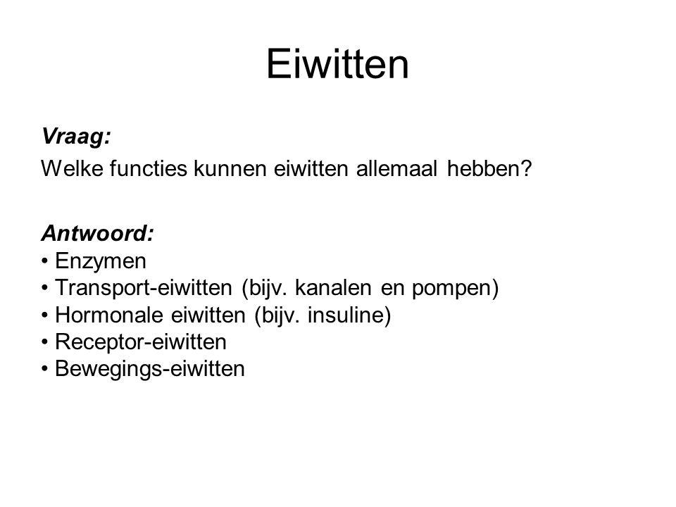 Eiwitten Vraag: Welke functies kunnen eiwitten allemaal hebben