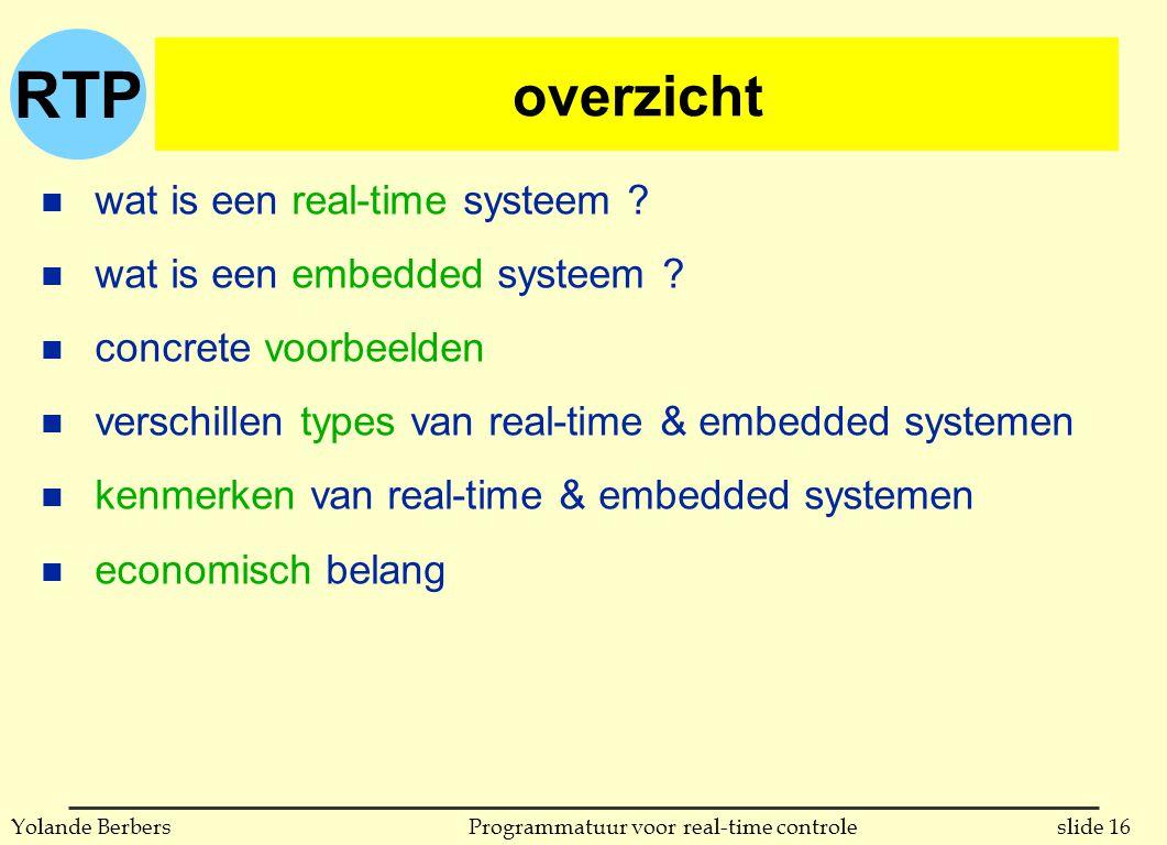 overzicht wat is een real-time systeem wat is een embedded systeem