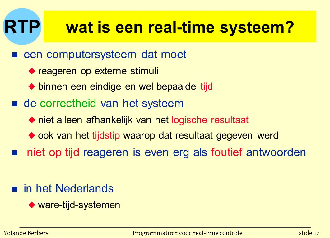 wat is een real-time systeem