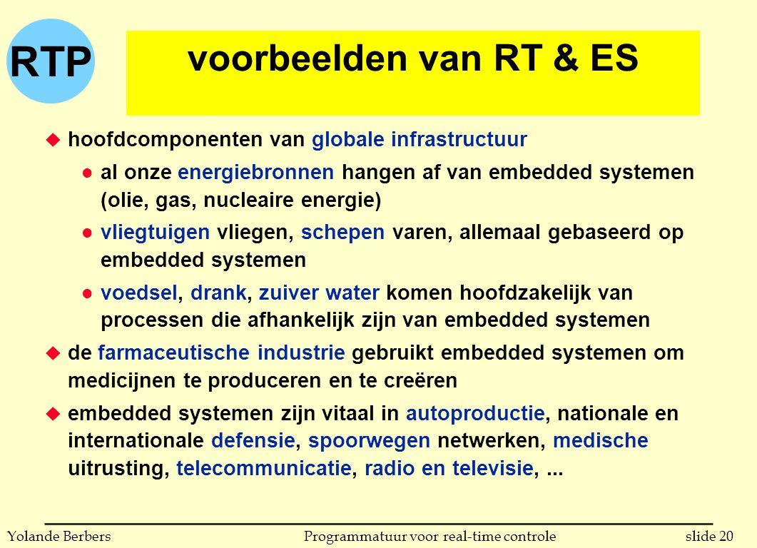 voorbeelden van RT & ES hoofdcomponenten van globale infrastructuur