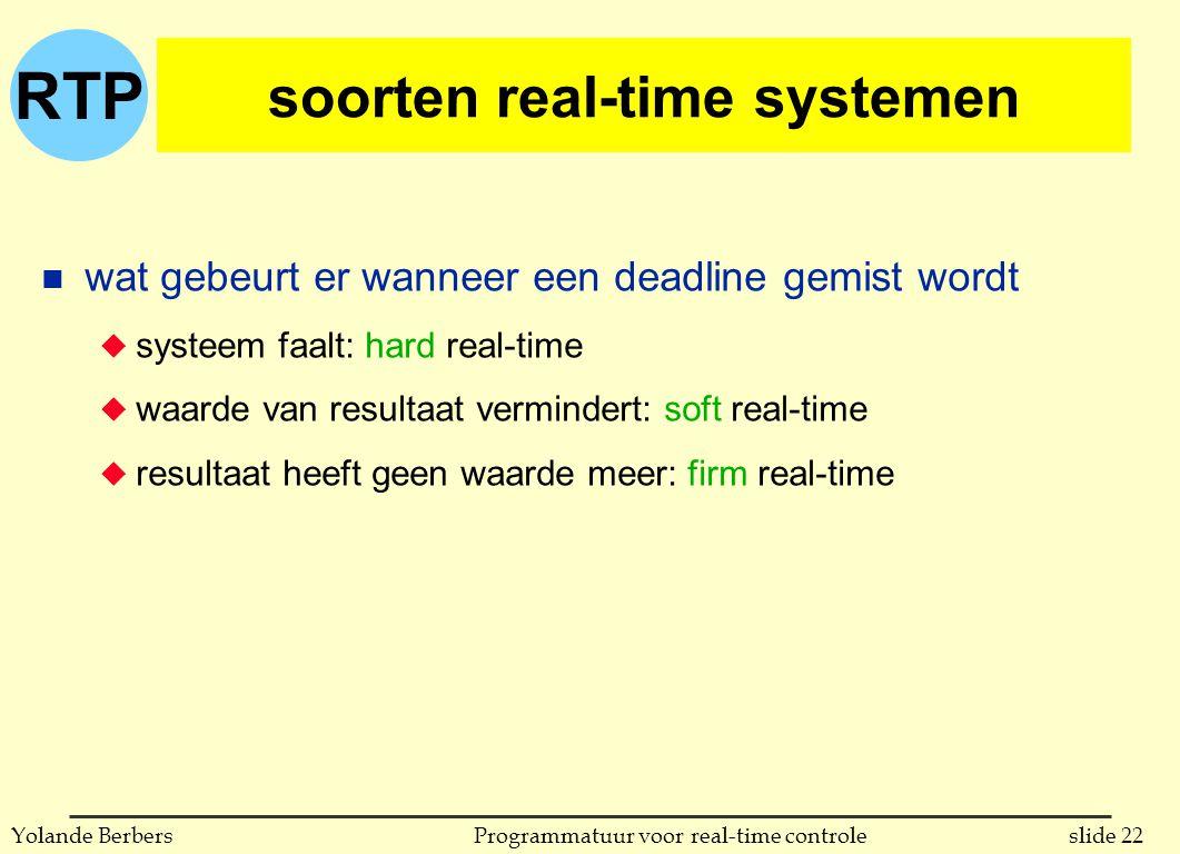 soorten real-time systemen