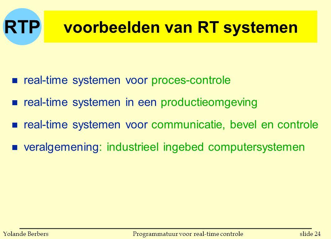 voorbeelden van RT systemen