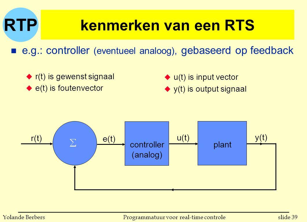 kenmerken van een RTS e.g.: controller (eventueel analoog), gebaseerd op feedback. r(t) is gewenst signaal.
