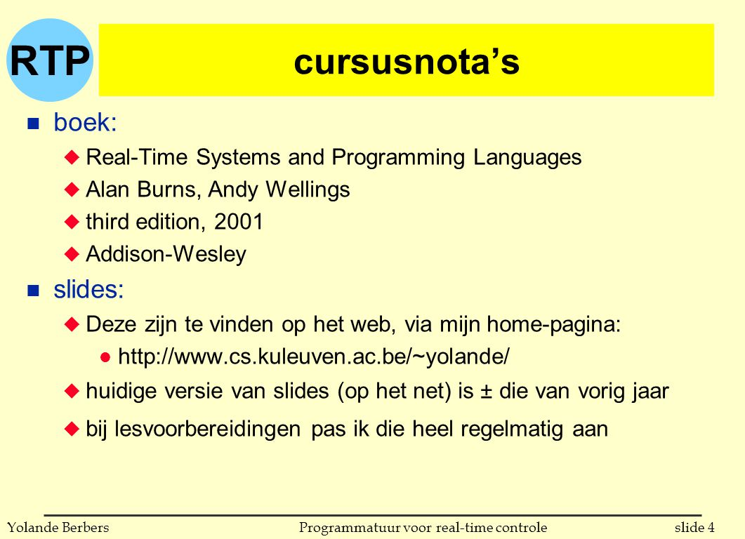 cursusnota's boek: slides: Real-Time Systems and Programming Languages