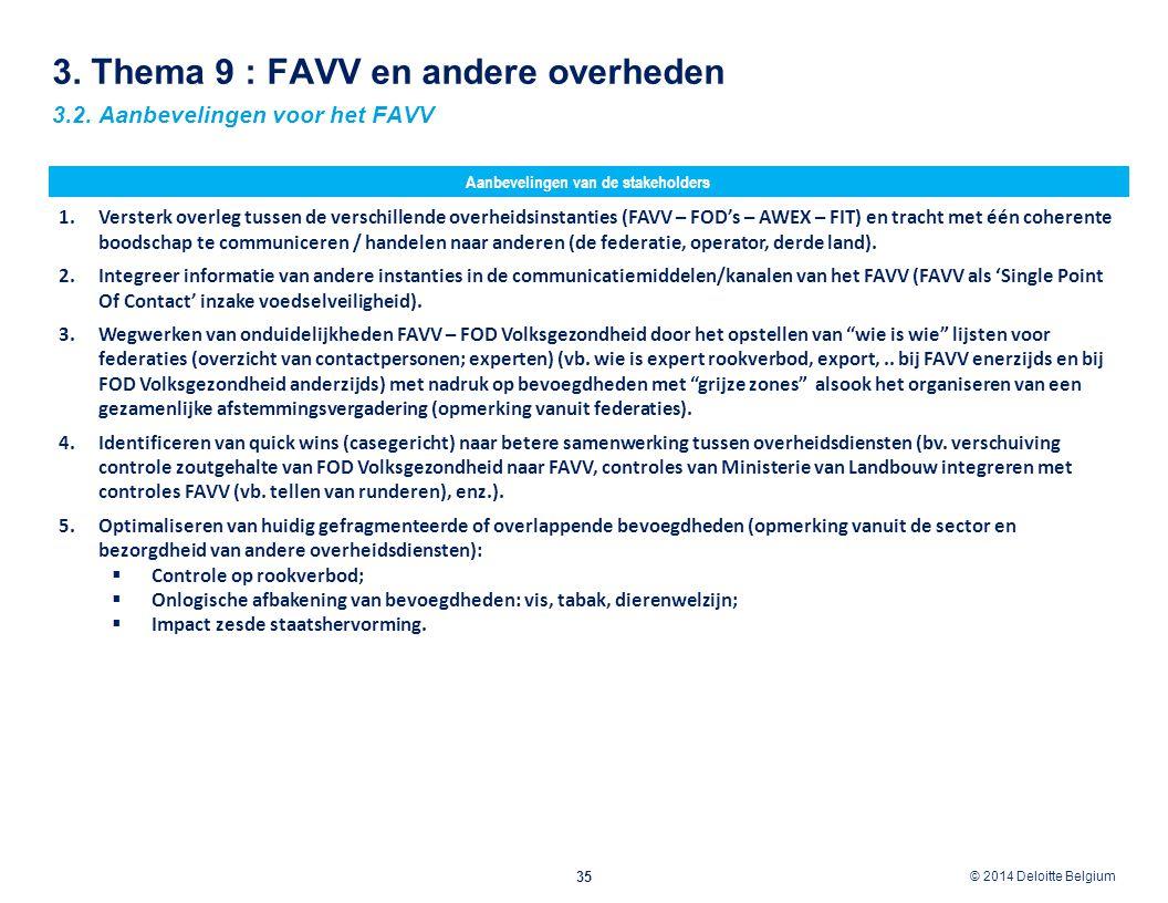 3. Thema 9 : FAVV en andere overheden
