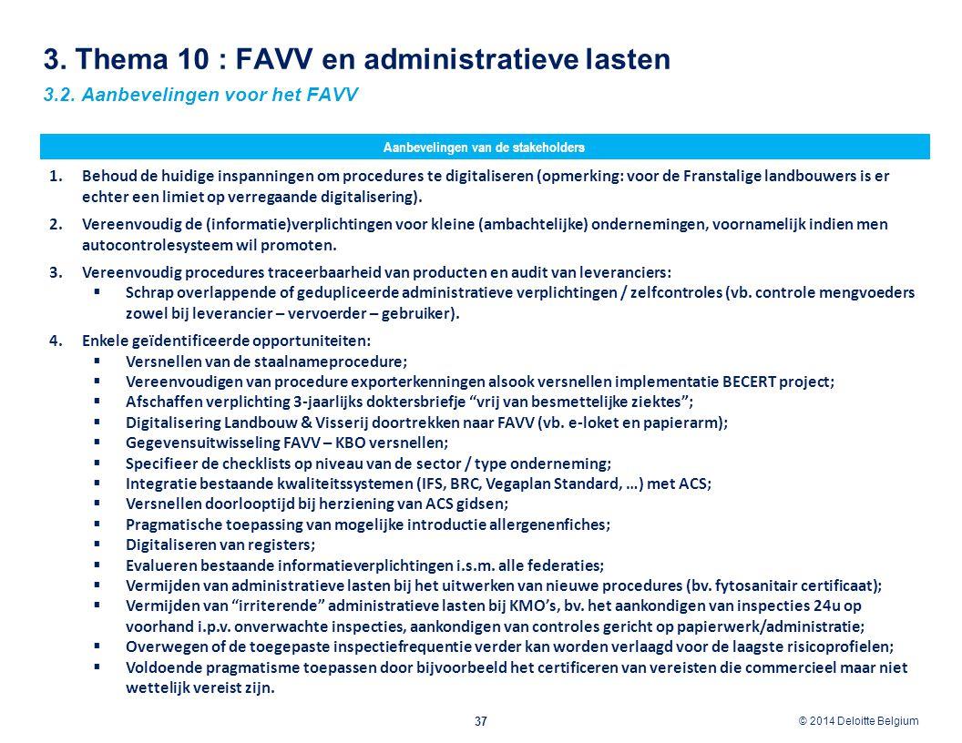 3. Thema 10 : FAVV en administratieve lasten