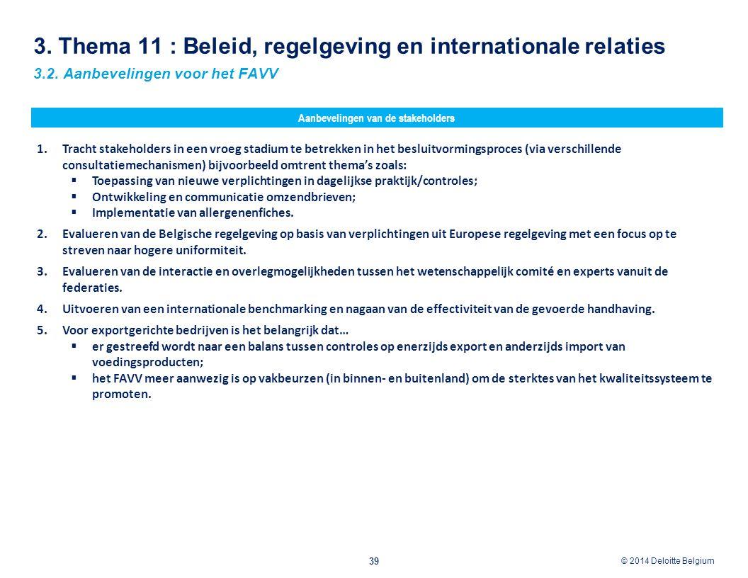 3. Thema 11 : Beleid, regelgeving en internationale relaties