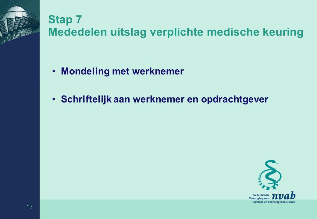 Stap 7 Mededelen uitslag verplichte medische keuring
