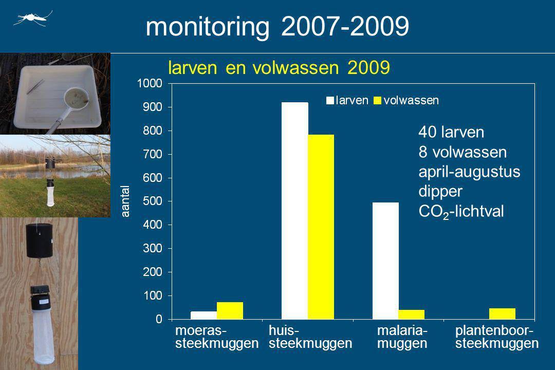 monitoring 2007-2009 larven en volwassen 2009 40 larven 8 volwassen