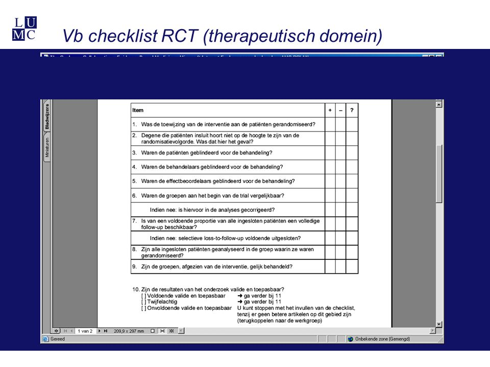 Vb checklist RCT (therapeutisch domein)
