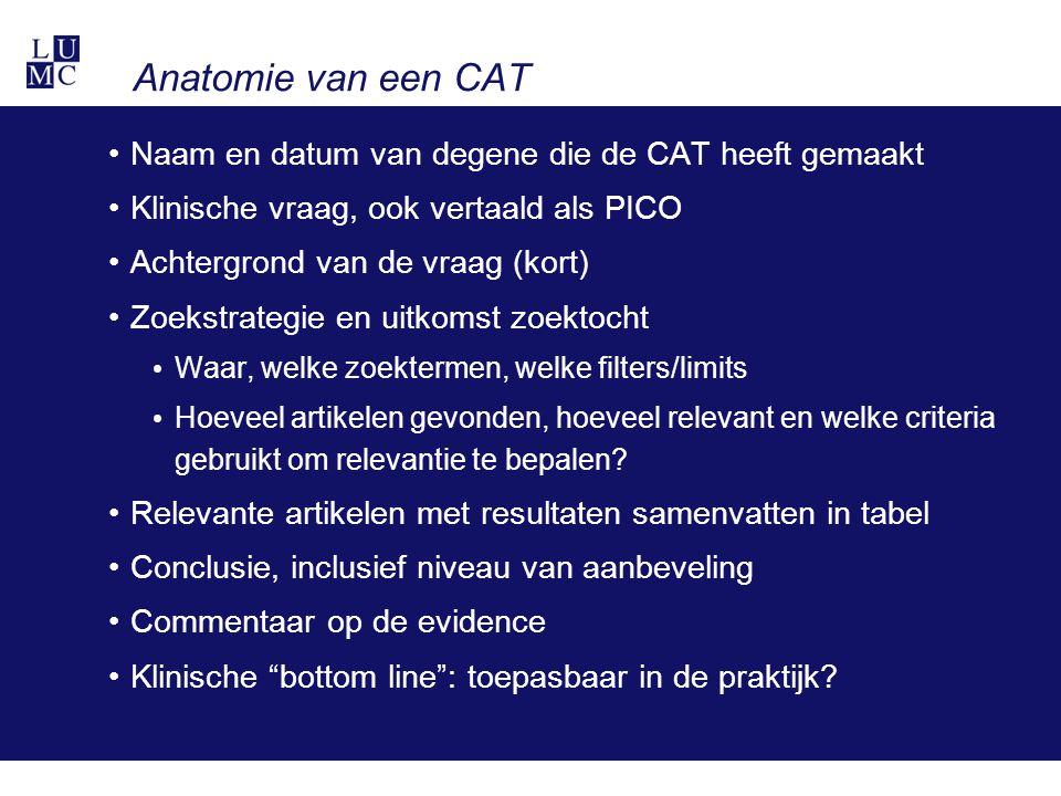 Anatomie van een CAT Naam en datum van degene die de CAT heeft gemaakt