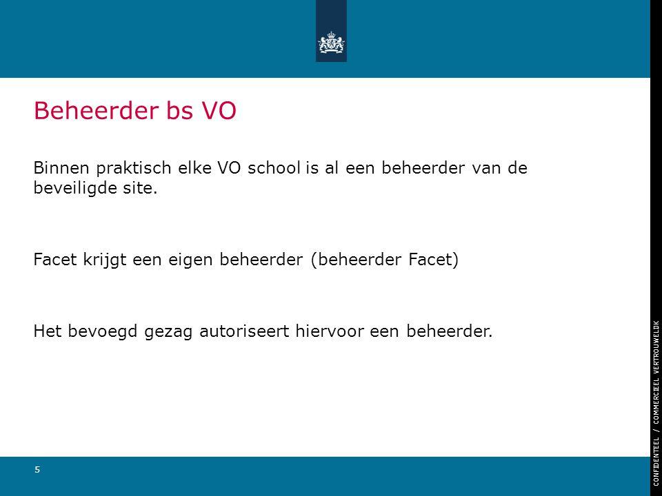 Beheerder bs VO Binnen praktisch elke VO school is al een beheerder van de beveiligde site. Facet krijgt een eigen beheerder (beheerder Facet)