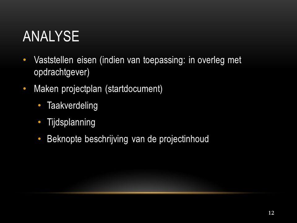 Analyse Vaststellen eisen (indien van toepassing: in overleg met opdrachtgever) Maken projectplan (startdocument)