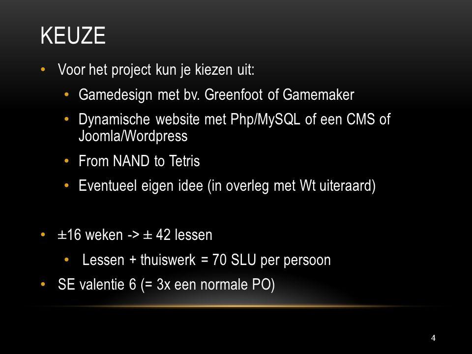 Keuze Voor het project kun je kiezen uit: